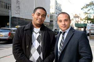 Attorney Paul Prestia with Subrotha Sarkar. The man who was allegedly found with a pound of marijuana.